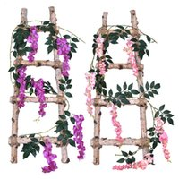1.7M Artificial Wisteria Flower Vines Fake Vine Garland Hanging For Wedding Home Office Party Garden Craft Art Decor Decorative Flowers & Wr