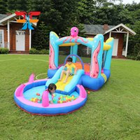 Octopus Bounce House with Built-In Water Sprayer Garden Supplie Inflatable Bouncer Jumper Slide Octopuss Themed Indoor Outdoor Park w  Pool for Kids Party Play Fun
