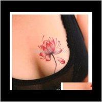 Blume wasserdichte temporäre Tätowierung Aufkleber Lotus Blatt Mädchen Lavendel Tatto Aufkleber Flash Tatoo Gefälschte Tätowierungen für Frauen U9RTC Sogka