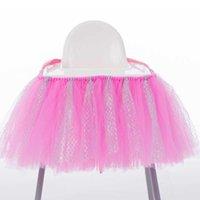 Sedia Covers Baby Shower Table Gonne Decorazione di compleanno per Alta Tulle Tulle Sgabello Decor Forniture per feste 100x35cm