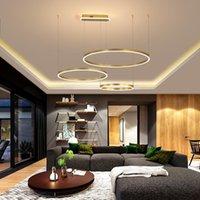 Sarkıt Lambaları Yüzük Alüminyum Akrilik LED Avize Oturma Odası Yemek Yemeği Yatak Odası Çalışma Ticari ve Ofis Aydınlatma