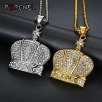 Pendant Necklaces Hip Hop Full Rhinestone King Crown Shape Pendants Bling Iced Out Cuban Link Chain Hiphop Necklace Men Jewelry
