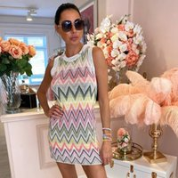 Casual Dresses High Quality casual women loose knitting sleeveless dress Zig Zag Knit Dress 36YE