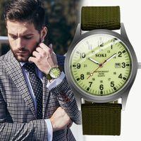 Relógios de pulso de alta qualidade Soki homens Quartz movimento relógio nylon banda militar militar exército esportes calendário casual