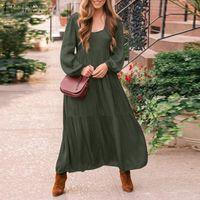 Элегантные оборманы платья плюс размер халат старинные ремень Sundress 2021 Zanzea женщин квадратный воротник платье длинный слойный рукав Vestidos