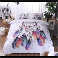 럭셔리 침구 골든 3D Duvet Mandala Boho Bedclothes 깃털 패턴 3pcs 킹 퀸 퀼트 커버 세트 Dyr4k Wuhxt