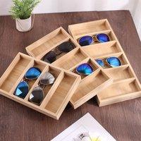 Creative Bambboo Occhiali da sole in legno Occhiali da sole Display Glasses Holder Organizer EyeGlasses Storage Showcase Busselle per gioielli, borse