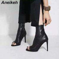 Aneikeh 2019 Summer Shoes Woman High Stiletto High Heels Boots Spring Autumn Peep Toe PU Leather Pumps Super Heel Botas mujer T200425