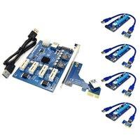 Smart Home Control PCI-E X1 إلى 4PCI-E X16 توسع كيت 1 4 منفذ PCI Express التبديل مضاعف كابل تمديد SATA ل BTC Miner Mining