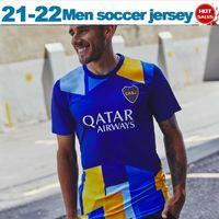 Boca Juniors Soccer Jersey 2021 2022 المشجعين النسخة دي روسي أبلا بافون تيفيز الرجال لكرة القدم قميص مخصص