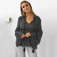 Women Autumn Dot Print Flare Sleeve Blouse Long Sleeves V Neck Black Shirt Tops Female Casual Clothes 2021 Camisa Feminina Women's Blouses &