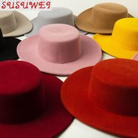 100٪ الصوف جودة عالية المألوف بوهو شيك كاليفورنيا نمط boater شقة الأعلى قبعة واسعة بريم القبعات