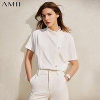 Женские блузки рубашки AMII Минимализм летняя рубашка для женщин мода твердого стойки воротник, кнопка свободная женская блузка причина 12140269