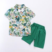 Clothing Sets Boys Summer Short Sleeve Suit Fashion Shirt Top Shorts 2 Piece Set Children Vacation Outfits Green
