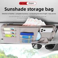 Samochód Sun Visor Torba Przechowywania Bill Pen Holder Wizytówka Uchwyt CD Organizator Zipper Box Okulary Klipsowanie Sprzątanie Akcesoria samochodowe
