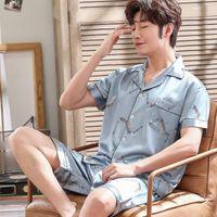 Men's Sleepwear Brand Spring Summer Autumn Men Satin Silk Pajamas Sets Of T-shirt & Shorts Print Male Pijama Buttons Closure