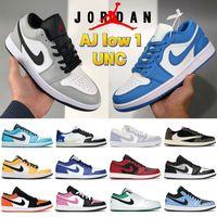 Air Jordan 1 المنخفض 1S UNC كرة السلة أحذية جامعة بلو الثلاثي الأسود ضوء الدخان الرمادي الباندا محظوظ الأخضر الصبار باريس رجل النساء أحذية رياضية