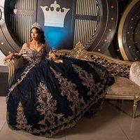 Concepteur princesse quinceanera robes bleu marine blue boule robe dentelle dentelle dubaï filles pageant robe de bretence de l'épaule corset en place dos sucré 15 16 robe
