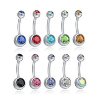 Aço Inoxidável Botão Botão Anéis Umbigo Anéis De Cristal Piercing Barras Piercing Barras Jewlery for Women's Bikini Fashion Jewelry D1 93 W2