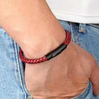 Charm Bracelets Classic Style Men Leather Bracelet Simple Black Stainless Steel Button Neutral Accessories Hand-woven Jewelry