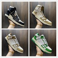 2021 A Miri Shoes Skeleton Bone Casual Zapato Casual Alto Top Hombres Mujeres Cesta Correr Negro Blanco Cuero de cuero Encienda Trainer Top Calidad Tamaño US5.5-US11 con caja.