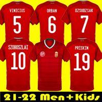 2021 헝가리 축구 유니폼 Szalai Uniform 22 22 Priskin Dzsudzsak Szoboszlai Gazdag Ferenczi Bese Botka 홈 남성 + 키즈 축구 셔츠
