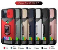 Магнитное кольцо Невидимое Картовое скользящее окно Чехлы для телефона для iPhone13 Pro Max 12 мин 11 X XR XS 7 8 Plus Case Case