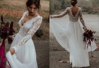 Modest Country V neck and Backless Wedding Dress Bridal Gown with Long Illusion Lace Sleeves Tulle Bohemian Ruched Reception Dresses