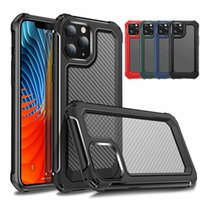 Armor Shockproof Full Cover Case For iPhone 12 11 Pro Max XS XR 6 7 8 Plus Shockproof Clear Carbon Fiber Cover