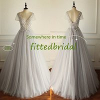 Cap Sleeves Wedding Dresses Bridal Gowns Lace Applique Berta Bohemian Spaghetti Straps V-Neck Backless Floor Length Real Image