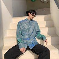 Men's Casual Shirts Summer Fashion Nightclub DJ Singer Shiny Long Sleeve Shirt Stage Costume Men Glossy Polarized Light Vintage Blouse