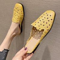 Sandals 2021 Summer Shoes Women Flats Slip-On Openwork Flower Female Casual Ladies Work Footwear Zapatos De Mujer