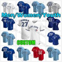 27 Vladimir Guerrero JR Jersey 11 Bo Bichette 4 George Springer Jays 8 Cavan Biggio 24 Nate Pearson Azul Toronto Mens Juvenil Mulheres