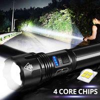 XHP50 LED 손전등 확대 / 축소 강력한 토치 USB 충전식 18650 배터리 (포함되지 않음) 방수 가장 밝은 핸드 헬드 조명 # G30
