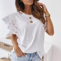 Women's Blouses & Shirts Sexy Hollow Out Embroidery Blouse Shirt Summer Short Butterfly Sleeve Blusa Casual O Neck Women Tops Pullover Stree