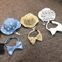 Trendy Pet Hat Bowknot Collar Letter Printed Pets Sun Hats Dog Apparel Summer Travel Teddy Dogs Supplies