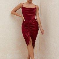 Hight 품질 패션 우아한 나이트 클럽 드레스 여성 와인 레드 아세트산 단조 표면 칵테일 저녁 파티 여성 캐주얼 드레스