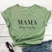 المرأة تي شيرت مضحك ماما كل يوم كل رسالة أمي المرأة قميص قصيرة الأكمام الجمالية القطن الأعلى المحملات عارضة زائد حجم س الرقبة الأم الزى