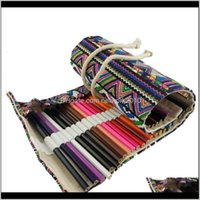 Creative Ethnic Wind Pencil Case Cosmetic Brush Pen Bag Pouch Canvas Wrap Roll Up Storage Bags Officeschool Supplies Uiakz Ntulq