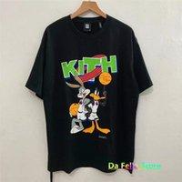 2021 KITH Basketbol T-shirt Erkek Kadın Siyah Vintage Looney Tavşan Ördek Baskı Kısa Kol 1: 1 Tee Tops