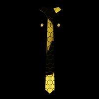 Gold Color Chromed Hexagonal Honeycomb Shape Necktie Geometric Necktie W  Rhinestone Cufflinks Fashion Accessories