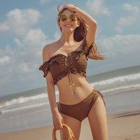 Swimwears Women's Sexy Korean High Waist Split Solid Bikini Spring Woman