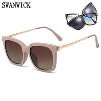 Swanwick Square Optische Anti Blue Light Brille Frames Polarisierte Objektiv Clip auf Retro Frauen Sonnenbrille Schwarz Braun Europäischer Stil