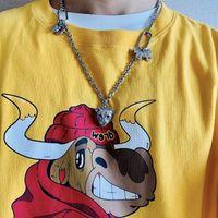 Gelgit Trendy Drew T Gömlek Yüksek Sokak Eğilim Sevimli İnek Sarı Rahat Gevşek Tip Erkekler Ve Kadınlar Kısa Kollu T-shirt