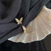 Ytdp ala mini blanco perla stud 925 plata de plata mariposa ala mini blanco shell perla stud 925 plata mariposa cáscara rurales aguja