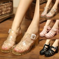 Korean version of sandals female summer Dress Shoes plastic high-heeled non-slip waterproof rain boots transparent crystal jelly shoe Baotou beach retro