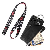 Lanyard Strap Detachable Leather Wallet Clutch Phone Case for iPhone 12 Mini 11 Pro Max XR XS 6s 8 Plus Samsung S21 Ultra