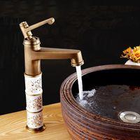 バスルームのシンクの蛇口アートアンティーク青と白の磁器スタイルの洗面台、銅の台所真鍮の蛇口ミキサー水の寒さ
