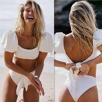 Bikini caliente 2021 Effen Color Tankini Sports Bandeau corto Mouw Zomer High Taille Cut Backless Badpak Beachwear