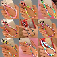 Keychains 2021 Colorful Acrylic Bead Smile Mobile Phone Chain CellPhone Strap Anti-Lost Lanyard For Women Summer Jewelry